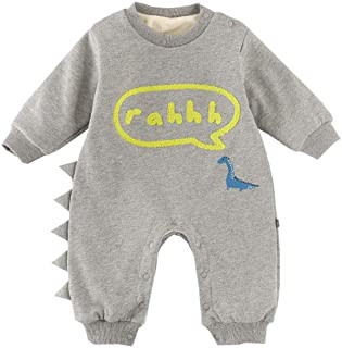 Fairy Baby Infant Baby Boy Girl Outfits Cartoon Dinosaur Romper Winter Fleece Jumpsuit