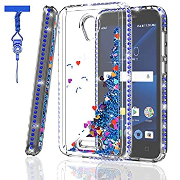 ZingCon Suit for Alcatel 5044R Phone Case,Alcatel CameoX,Alcatel Verso Sparkle Rhinestone/Crystal Diamond Case,Shockproof Hybrid Hard PC Soft TPU Protective Cover with Neck Lanyard-Blue