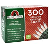 Holiday Essence 300 Mini Clear Lights, Christmas String Lights for Indoor and Outdoor Decorative Use, Green Wire, UL Listed