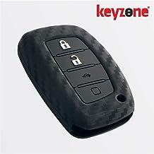 Keyzone® Carbon Fibre Patterned Silicone Key Cover for Hyundai Venue,Elantra,Tucson,Creta 2020 Smart Key (Push Button Start Models) (Black)