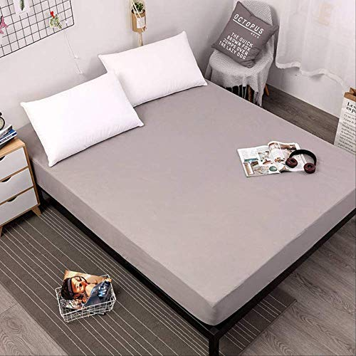 ASDFF Mattress cover Waterproof Mattress Protector Solid Color Mattress Cover Fitted Sheet Style Separated Waterbed Pad Linens With Elastic 140X200X30cm Gray