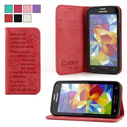 COOVY® Cover für Samsung Galaxy S5 SM-G900F SM-G901F Neo SM-G903F Case Wallet Schutz Etui mit Kartenfach, Standfunktion + Schutzfolie - Design Smile | Farbe rot