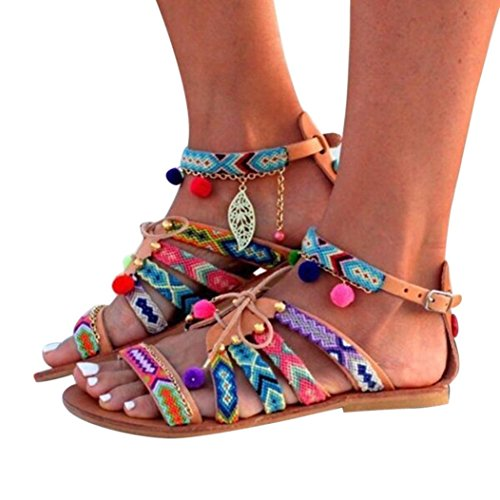 OHQ Sandalias Mujeres Verano Planas de Estilo Bohemio Multicolor Piedras Rhinestone Bohemia Blanco Marrón Tallas Grandes Zapatos de Cuero Cómodo Y Elegante