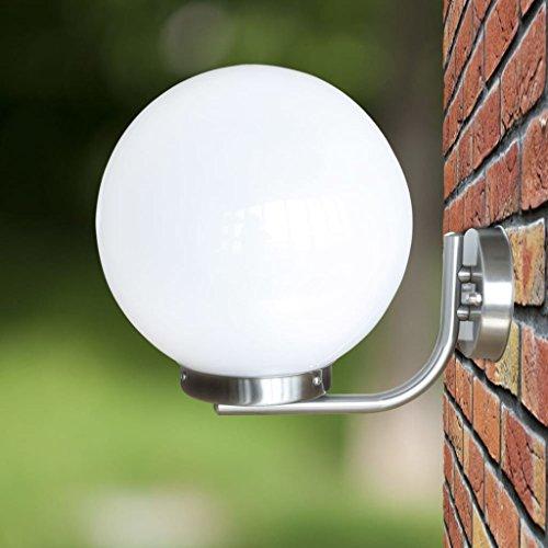 lingjiu Shopping exterior lámpara de pared 32cm vía Leuchten Acero Inoxidable Color: Blanco. Material: acero inoxidable Lámpara plana + Plástico gehause exterior lámpara