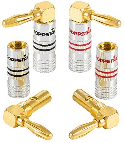 Poppstar Connettori a banana, inclinata, per cavo fino a 4 mmq avvitamento o 6 mmq saldatura, contatti in oro 24k, 4 pezzo