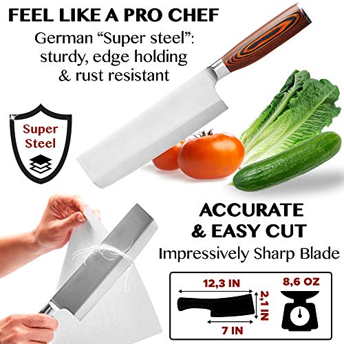 Vegetable Knife - Japanese Chef Knife - Usuba - Sharp Knife - Kitchen Knife - Stainless Steel High Carbon Pro Chef Knife - 7Inch Dicing Mincing Veg Knife - Best Gift in Stylish Gift Box