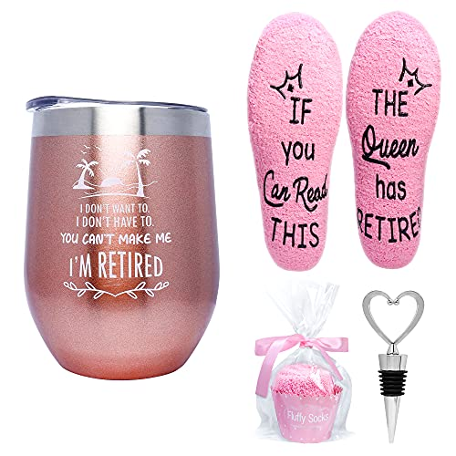 Valporia Retirement Gifts for Women 2021 Insulated Wine Tumbler with Sayings + If You Can Read This Socks + Wine Stopper for Women Birthday Gifts for Women Rose Gold Stainless Steel Xmas Gifts