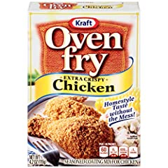Eight 4.2 oz. boxes of Kraft Oven Fry Extra Crispy Seasoned Coating for Chicken Kraft Oven Fry Extra Crispy Seasoned Coating for Chicken simplifies dinner with homestyle flavor Add a savory blend of spices to your chicken dinner Extra crispy seasonin...