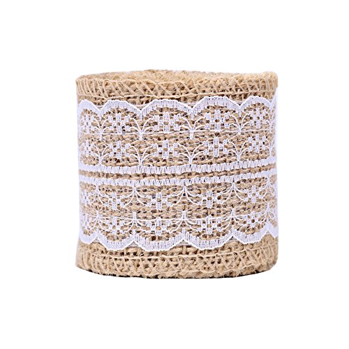 USIX 10 Yards Natrual Jute 2.36 Inch Burlap Ribbon Roll with Color Lace for Arts Crafts DIY Gift Packing Flower Wrap Wedding Birthday Baby Shower Decoration (D4-17 White)