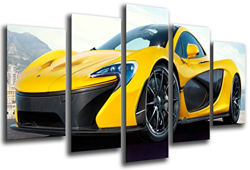 Poster Fotográfico Coche Deportivo, McLaren F1 GT, Amarillo Tamaño total: 165 x 62 cm XXL