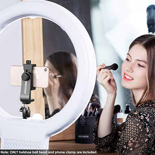 Neewer Smartphone Halter Klemme Tischstativ Halterung mit Mini Kugelkopf Blitzschuh Adapter für 14-18 Zoll Ringlicht wie iPhone Samsung Huawei Smartphone von 1,9-3,9 Zoll Breite