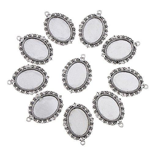 MagiDeal 10 Stücke Silber Lünette Anhänger Vintage tibetischen Silber ovalen Form Anhänger Schalen DIY Schmuck Zubehör