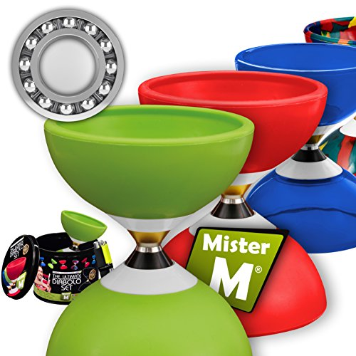 Mister M ✓ Das Ultimative Kugellager Diabolo Set ✓Jonglier Kugellager Diabolo ✓ Alu Stöcke ✓ Online Lern-Video ✓ Geschenkbox