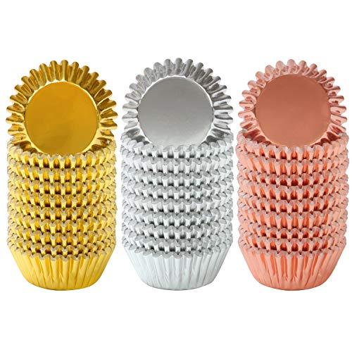 Elcoho - Confezione da 600 mini pirottini metallici per cupcake, muffin, 3 cm, colore: oro, argento e oro rosa Multicolore.