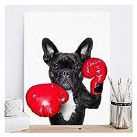 LMHノルディックスタイルボクシングドッグキャンバスノーフレームアートプリント絵画ポスター面白い漫画動物の壁の写真の子供の装飾 (Color : N051 6, サイズ : 60x80cm no frame)