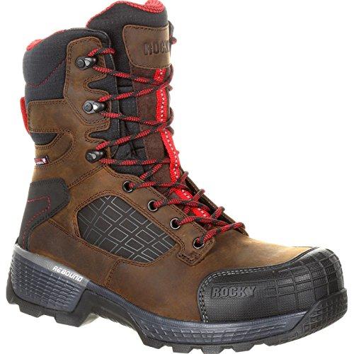 "Rocky Treadflex Composite Toe Waterproof 8"" Work Boot Size 8.5(M) Dark Brown"