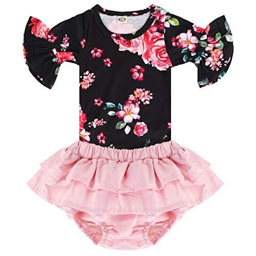 Puseky Baby Meisjes Bloemen Print Ruche Mouw Romper Top + Tutu Rok Shorts Outfits Set (18-24 Maanden, Zwart)