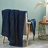 Simple&Opulence Flannel Fleece Velvet Plush Throw Blanket, 50x60 Inch, Lightweight, Ultra Soft for Bed/Couch/Sofa-Navy Blue