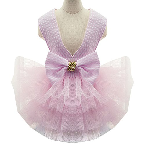 Moda Vestido de Mascotas Perro Princesa Encaja para Verano Boda Fiesta con Bowknot Rosa M