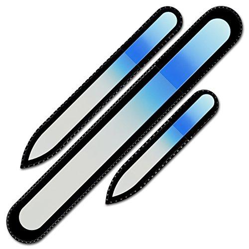 Mont Bleu Premium Set bestehend aus 3 Farbige Glasnagelfeilen in Tasche aus schwarzem Samt - echtes gehärtetes Glas - Nagelfeile für Nägel