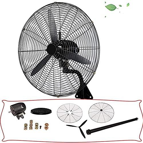 Ventilador oscilante de montaje en pared / oscilante de 120 °, 3 velocidades, ventilador eléctrico de metal, velocidad silenciosa y pesada, ventilador industrial de pared, color negro