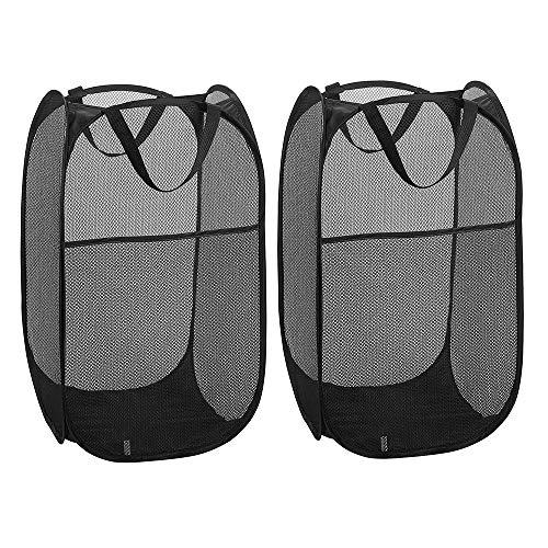 WD&CD Cestos para Lavandería Plegables 【2 Pack】 Plegable Pop-Up Malla Cesto de Ropa Bolsa Bin Cesto Juguete Organizador de Almacenamiento Cesta de Lavandería Independiente con Asas Extendidas (Negro)