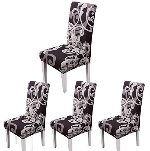ARNTY Stuhlhussen 4er 6er Set,Stretch Stuhl Bezug Esszimmer,Universal Moderne Elastische Hussen für Stühle für Esszimmer Party Hotel Restaurant Deko (Blumenmuster, 4 Stück)