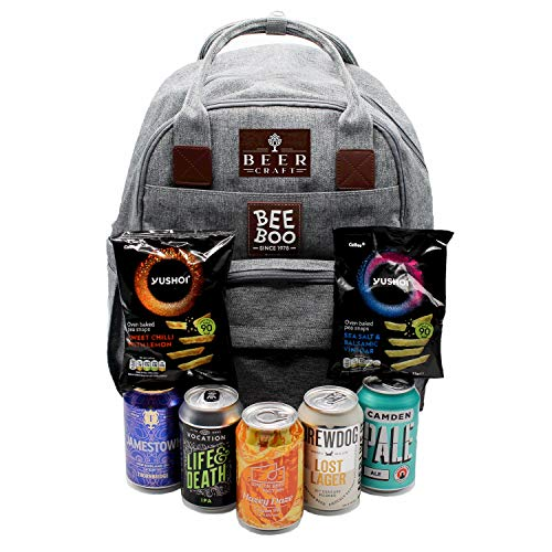 Beer Craft Beer Bag Hamper | 5 British Craft Beers | 2 Packets of Premium Nibbles | Ice Block | Stylish Backpack with Insulated Beer Pockets