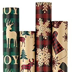 Size: Each roll is 30 inches x 10 feet, equal to 25 sq.ft, total of 4 rolls, can meet holiday needs Design: 4 Kraft Christmas designs, Christmas socks, red plaid, reindeer and Christmas tree, and green plaid, add the holiday touch to any gift Materia...
