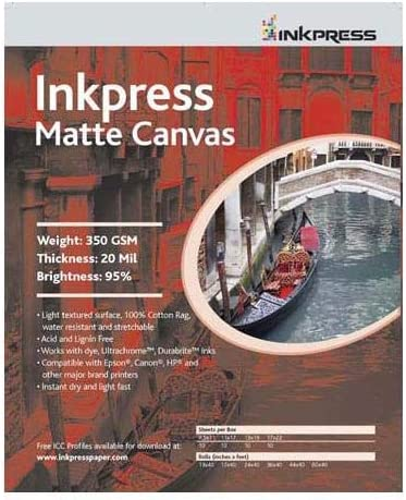 Inkpress Matte Canvas Waterproof Bright favorite Manufacturer regenerated product Mat White Stretchable