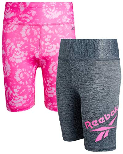 Reebok Girls Active Shorts - Spandex Athletic High Waisted Gym Workout Yoga Bike Shorts (2 Pack), Size 6X, Tie-Dye/Pepper