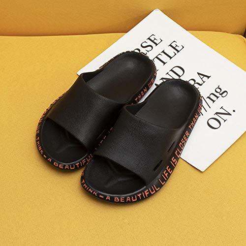 Mujeres Zapatos De Piscina,Zapatillas de verano para mujer, sandalias de playa con diseño de alfabeto, antideslizantes, suela suave para hombres, zapatos de exterior para parejas, negro EU 45-46