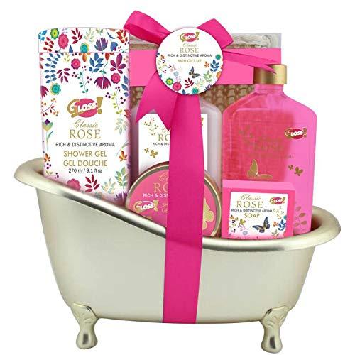 Gloss - caja de baño, caja de regalo para mujeres - Bath - Oro - Rosa - 8 piezas