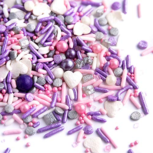 Sweets Indeed Sprinklefetti - Valentines Sprinkle Mix - Pink Purple Hearts - Sprinkles for Baking Gluten Free - Jodi - 6.5 ounces