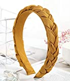Gifts and Beads Headbands for Women Braided Gold Plain Color Hair Bands for Women, for Girls, Plain Headwrap, Vintage Hair Accessories, Winter Solid Color.
