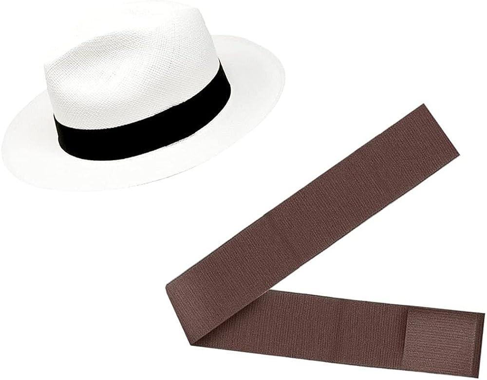 Gamboa - Genuine White Panama Over item handling Linen Hat + Fedora Band 2021 model