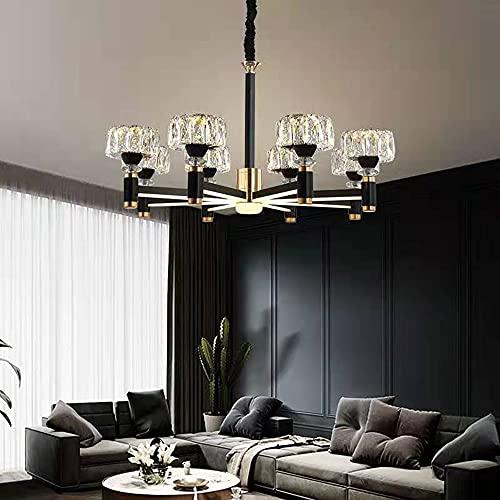 6 y 8 luces Lámparas de cristal contemporáneo para comedor para comedor Moderno Colgante Rústico Colgante Iluminación Colgando Cocina Cocina Isla Dormitorio Techo Luz Negro Oro Negro (Size : Large)
