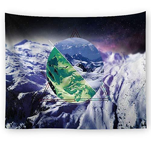 Tapiz de montaña, paisaje de montaña, nieve, montaña, invierno, cielo estrellado, decoración para dormitorio, sala de estar, dormitorio (60 x 80 pulgadas)