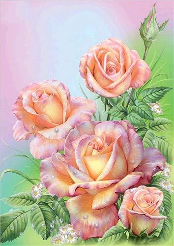 CDNY Florero rosa-5D DIY Pintura Diamante-de Cristal, Bordado de Punto de Cruz, Lienzo-para Adultos Niños Decoración de la pared40x50cm