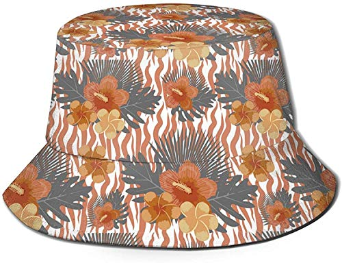 Unisex Varias Serpientes Sombrero de Cubo de Viaje Gorra de Pescador de Verano Sombrero para el Sol-Flores Tropicales Plantas Hojas