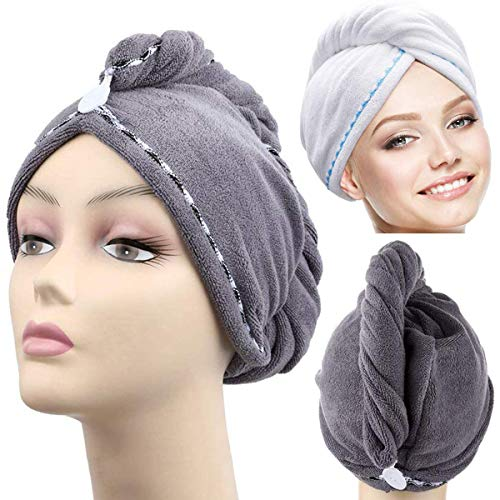 Heatigo Toalla de pelo envolvente, 2 paquetes de toallas de secado rápido de microfibra suave, súper absorbentes, para mujeres y niñas