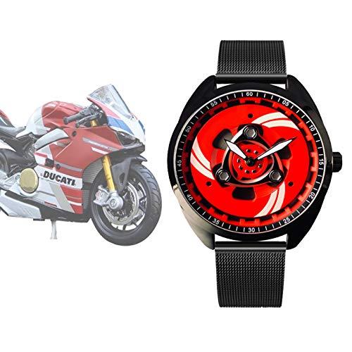 Reloj de Rueda de Cuarzo para Hombre, Reloj de Acero Inoxidable con Movimiento de Cuarzo japonés, Reloj Deportivo Resistente al Agua para Amantes de los Deportes de Hombre / Motocicleta