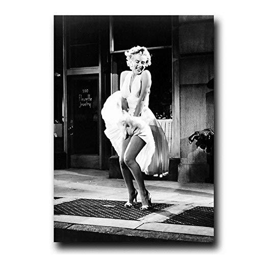 Wxuuly Famoso Marilyn Monroe Pintura en Lienzo en Blanco y Negro Carteles Antiguos Impresiones Imagen de Arte de Pared para Sala de Estar Decoración del hogar Cuadros A2 50x70CM (Sin Marco)
