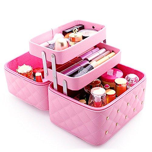 FYX Kosmetikkoffer Makeup Box Kosmetiktasche Schminkkoffer für Reisen Dienstreise weich 25 * 19 * 21cm Schwarz Rosa Pink (Pink)
