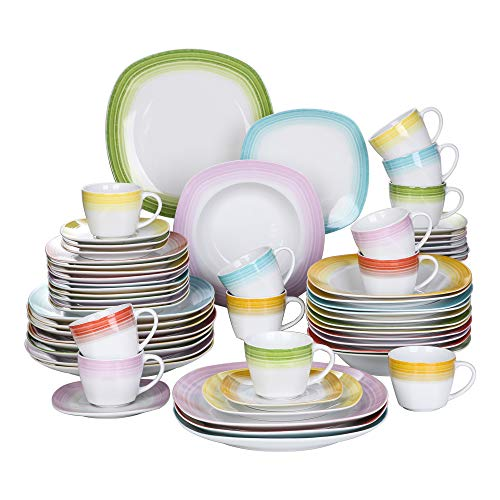 VEWEET Series Spark, Ivory White Porcelain China Ceramic Dinner Combi-Set with Dessert Plates/Soup Plates/Dinner Plates/Cups/Saucers Service for 12