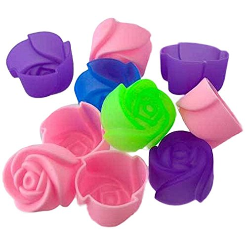Stampini a forma di rosa in silicone per muffin, dolci, cioccolato, gelatine, 10 pezzi