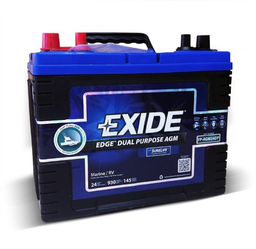 Exide Edge FP-AGM24DP Flat Plate AGM Sealed Marine Battery