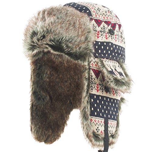 [Janey&Rubbins] パイロットキャップ ロシア帽子 防寒 耳あて付 冬 ファーライニング スキー アウトドア 男女兼用 キャップ (L, レッド ニット)