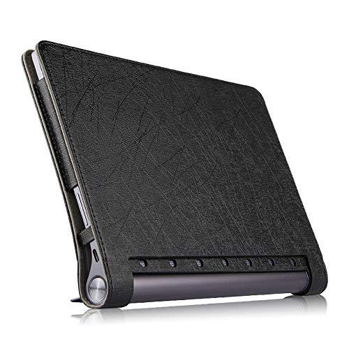 para Lenovo Yoga Tab 3 Plus Funda Protectora PU Funda de Cuero para Yoga TAB3 Tab3 Plus YT-X703F X703 X703L 10.1 Funda para Tableta-Negro