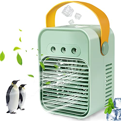 Air Cooler, Portable Air Conditioner with 3 Wind Speeds and 7 Color Light, Rechargeable Desk Misting Fan, Suitable for Home/Office/Dorm/Camping(Green)